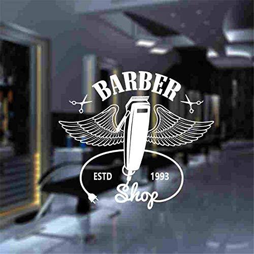 Crjzty Mann Friseur Aufkleber Maßgeschneiderte Chop Brot Aufkleber Haarschnitt Rasierer Poster Vinyl Wandkunst Aufkleber Decor Windows Dekoration weiß 58x65 cm