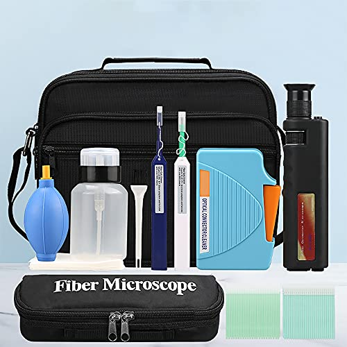 YICIZOL Optic Fiber Cleaning Inspection Kits Including 400 Times Fiber Connector Microscope for 1.25/2.5mm FC/SC/ST/LC Connector & 1.25mm/2.5mm Cleaner Pens & Cleaning Cassette