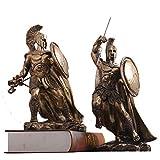 LIUSHI Greek Warrior of Sparta Statues with Spear & Shield,King Leonidas Spartan Collectible Figurines,Bronze Finish Retro Hero Sculptures Decor C 2-Piece