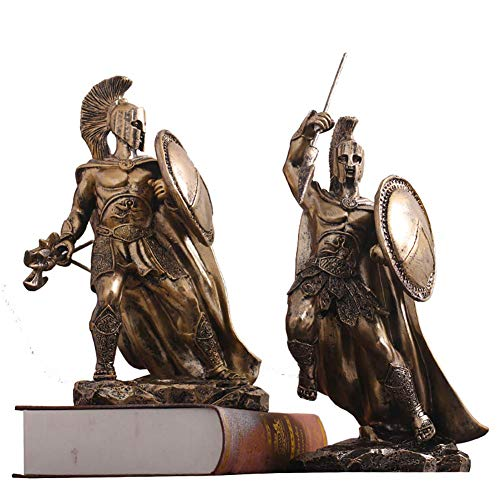 JSMY Estatuas de Guerrero Griego de Esparta con Lanza y Escudo,Figuras espartanas del Rey Leonidas,Escultura de héroe Retro con Acabado en Bronce,decoración C,2 Piezas