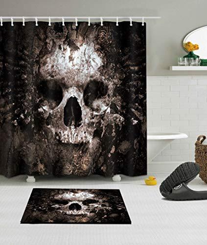 Conjunto de cortina de chuveiro LB assustador Rusty Rotten Crânio Rotten, impressão de arte Dia dos Mortos Decoração de casa Tecido de poliéster impermeável 182 x 182 cm com tapete de banheiro