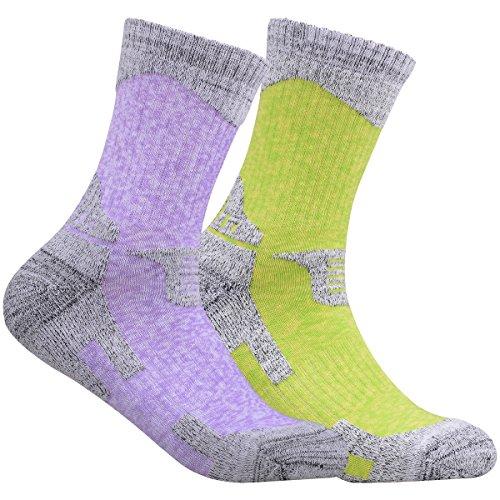 YUEDGE Women's 2 Pack Wicking Cushion Cotton Crew Socks Multi Performance Outdoor Sports Hiking Socks(Purple Green)