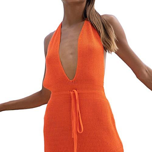 Olisenci Vestido corto de punto para mujer, sexy, cuello en V, sin mangas, espalda descubierta, con diseño de cordón naranja XS