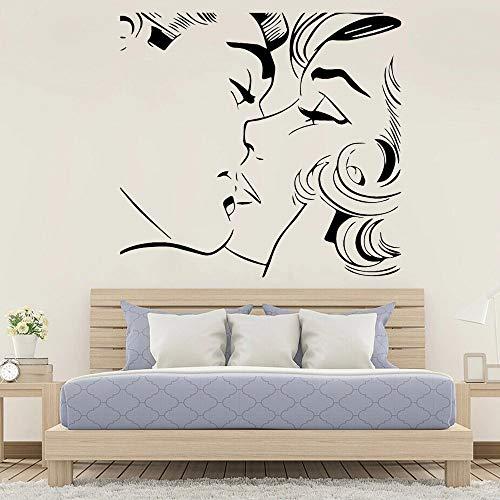 WERWN Arte de Moda Creativo patrón de Beso Abstracto Pegatinas de Pared decoración de Dormitorio Vinilo romántico Pared de la Sala de Estar