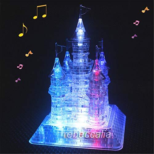 Winlauyet 3D LED Kristall Schloss Puzzle Musikbox Junge Spielzeug Geschenk Geduldspiel