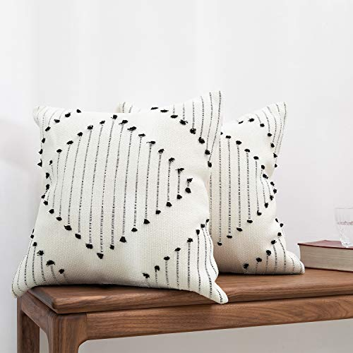 blue page Bohemian Diamond Throw Pillow Covers - Set of 2 Modern Cotton Woven Decorative Pillow...