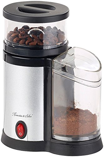 Rosenstein & Söhne Kaffee-Mühlen: Elektrische Kaffeemühle, Edelstahl-Scheibenmahlwerk und -Blende, 150 W (Espressomühle elektrisch)