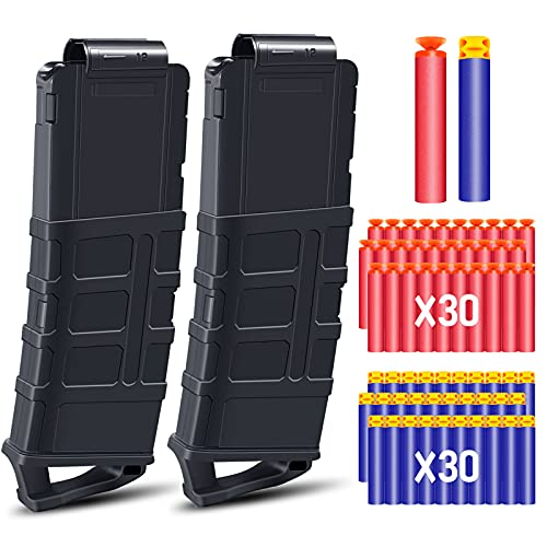 POKONBOY 12-Dart Quick Reload Clip with 60 Pcs Refill Darts, Soft Bullet Magazine Clip Fit for Nerf N-Strike Elite Series (Pack of 2)