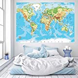 murimage Papier Peint Carte du Monde Bois 183 x 127 cm Photo Mural Pays Vintage worldmap bureau enfants wallpaper colle inclus