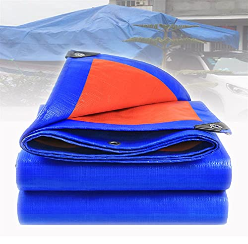 GZGLZDQ Lona Impermeable De PE para Jardín Trampolín Coche Camping Jardinería Ojales Reforzados Hoja De Lona Universal Azul/Naranja (Color : Blue/Orange, Tamaño : 4mx4m)