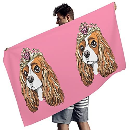 Gamoii Toalla de playa rectangular para niños y niñas, para perros, cocker spaniel, rosa, manta de pícnic, toalla de playa, toalla absorbente, para exteriores y viajes, color blanco, 150 x 75 cm