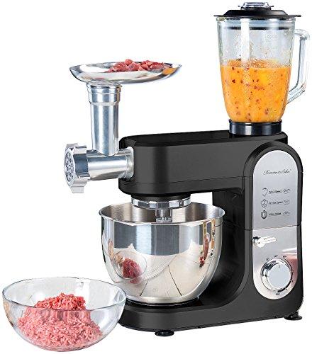 Rosenstein & Söhne All in One Küchengerät: All-in-One-Küchenmaschine mit Fleischwolf und Mixaufsatz, 1.000 Watt (Teigknetmaschine)