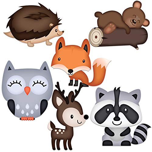 Woodland Baby Shower Decorations 36 Count - Large Adorable Woodland Animals Cutouts Are Easily Seen - Great for Woodland Creatures Baby Shower Or Fall Themed Baby Shower - Figures includes Fox Deer Owl