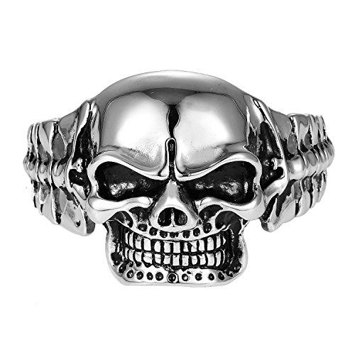 DonDon - Bracciale da uomo in acciaio inox, stile gotico e Acciaio inossidabile, colore: Teschio, cod. SP2-10_us