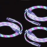 Akiimy 3 Packs 2.4A Light Up Led Charging Cable LED Flowing Current Visible EL LED Lights Charger Cable Compatible with Phone XS MAX/XR/XS/8 Plus/7 Plus (Color-Changing)