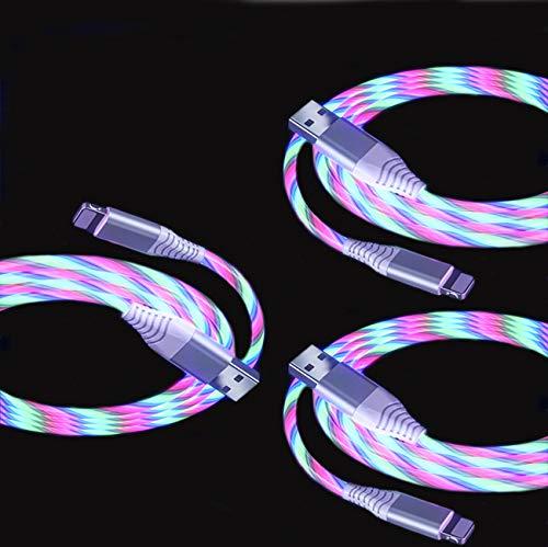 Akiimy 3 paquetes de 2,4 A luz LED cable de carga LED...