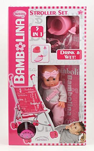 Dimian BD9409-217WB Bambolina mit Buggy und Zubehör im Set, inklusive Töpfchen und Flasche, Puppe trinkt und pullert, pink