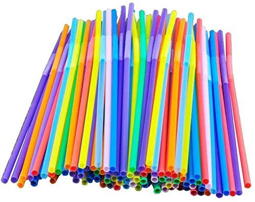 XinYiC Cannucce colorate extra lunghe flessibili per feste, usa e getta, 100 pezzi
