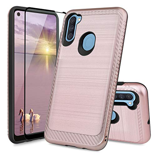 TJS Phone Case Compatible with Samsung Galaxy A11 (Not Fit Galaxy A10/A10S/A10E), [Tempered Glass Screen Protector] Hybrid Shockproof Metallic Brush Finish Hard Inner Layer (Rose Gold)