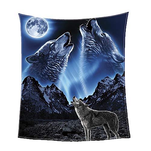 Homyl Schöne Flanell Plüsch Tagesdecke Bettüberwurf Kuscheldecke Sofadecke für Haus Büro, Auswahl - Wolf 130x150cm