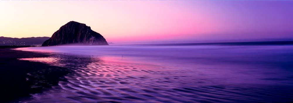 Posterazzi View Of Beach At Sunrise Rock Morro Bay San Luis Obispo County California Usa Poster Print 13 X 36 Posters Prints