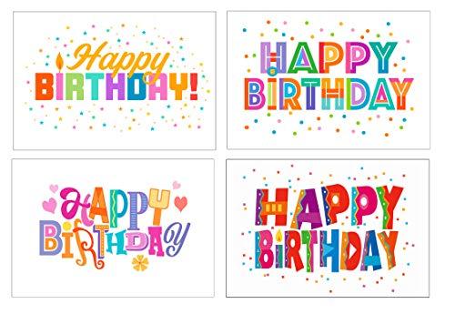 Happy Birthday Postcards - 4 x 6 Birthday Postcards - 40 Fun Birthday Cards, 4 Different Birthday Designs