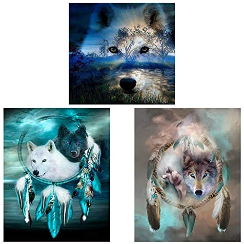 3 PCS Diamond Painting Kits for Adults, ZYNERY Wolf Diamond Painting Gem Art Kits for Kids, Full Drill for Home Wall Decor