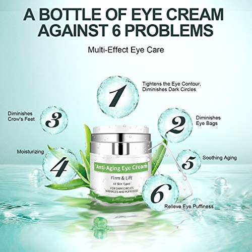 51gN2X5fltL - Eye Cream - Under Eye Treatment for Anti Aging, Dark Circles, Eye Bag & Puffiness with 43% Aloe Vera, Retinol, Vitamin C & E Eye Treatment for Men/Women's Eye Cream