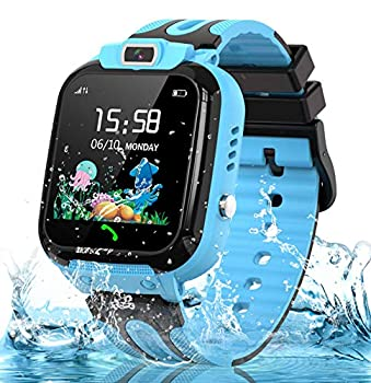 Smart Watch for Kids Girls Boys IP67 Waterproof Kids Smartwatch w GPS Tracker HD Touch Screen Call Alarm SOS Camera Cell Phone Watches for Children 3-14 Ages Birthday Gifts Blue