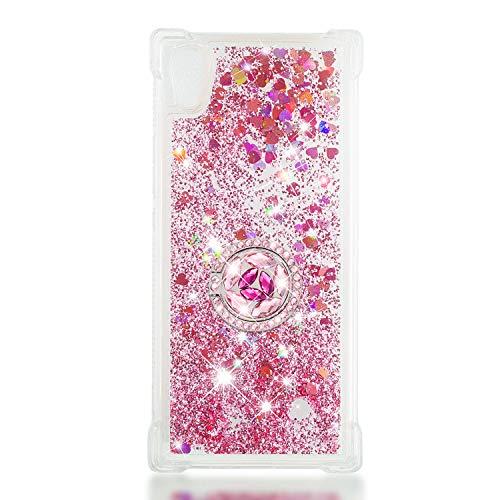 FAWUMAN Custodia Sony Xperia XA1 Squillo della Base del Telefono TPU Brillantini Diamond Liquido Sabbie Mobili Bumper Case (Oro Rosa)
