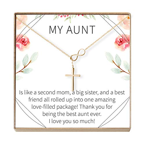 Aunt Gift Necklace: Auntie, New Aunt, Best Auntie Ever, My Aunt Loves Me, Infinity Cross (gold-plated-brass, NA)