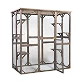"""JAXPETY Large Wooden Pet Cat Houses catio Outdoor Cat Enclosure, Cat Play Cage for Outside Weatherproof, with 6 Platforms, Doors Lounge, 63"""" x 36.2"""" x 71"""" - Gray"""