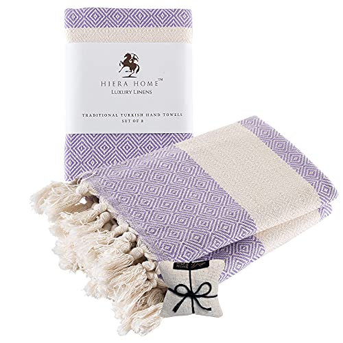 Hiera Home Turkish Hand Towels Set of 2   100% Cotton Decorative Towels for Bathroom, Kitchen, Gym, Yoga, SPA   Soft, Absorbent and Quick Dry Farmhouse Towels for Hands, Hair and Face   19x39 inches