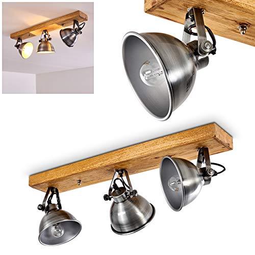 Plafondlamp Svanfolk, plafondlamp van metaal en hout in zilver/bruin, 3 vlammen, met verstelbare schijnwerpers, 3 x E14 stopcontact, max. 40 Watt, retro/vink design