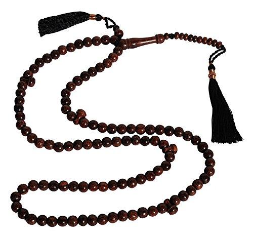 Exotic Beads Nuevo Hermoso Color marrón Oscuro denso Tamarind Madera Tijani tariqah Tasbih Cuentas de oración W/Cobre Sobre Negro Borla