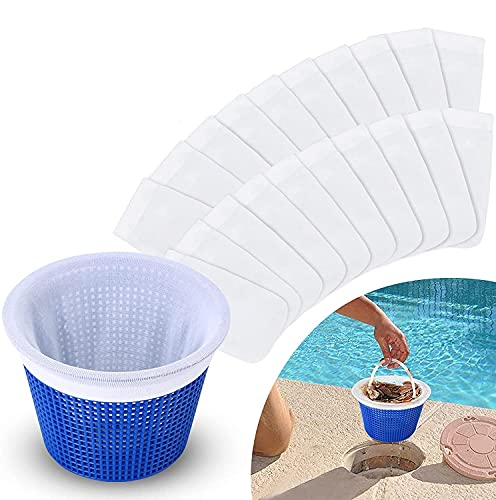 Pool Skimmer Socken,50-Stück Pool Skimmer Filter Nylon Socken Netz Skimmer Pool,Pool Skimmer Filter Netz,Schwimmbad Skimmer Socken für Filter Skimmer Korb,Pool Skimmer für Schlacken,Blätter (50PCS)