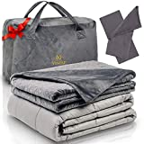 Vintap Adult King Size Weighted Blanket for Couples - 25 lbs 80x87, Best for King Sized Bed - Bonus Minky Duvet, 2 Bamboo Pillowcases & Soft Minky Handbag