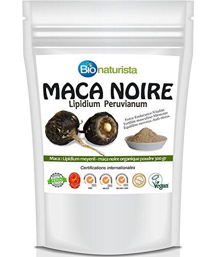 Maca Noire organique poudre 300 grs, Maca Bionaturista - MACA du Pérou de la région de Junin - Energie, Fertilité masculine, anti Stress, Libido, Mémoire, Endurance musculaire.