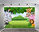 Leyiyi Africa Zoo Summer Scenery Backdrop 5x3ft Photography Backdrop Cute Animals Green Endless Lawn Children Baby Birthday Party Backdrop Kids Infant Room Decor Children Baby Portraits Studio Props