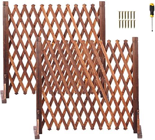 uyoyous 2 unidades de enrejado de madera, valla extensible para perros, valla de jardín, protección para animales, rejilla de escalada ampliable para plantas, 160 x 70 cm
