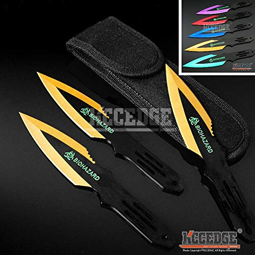 """KCCEDGE BEST CUTLERY SOURCE Tactical Knife Survival Knife Hunting Knife 6.5"""" Throwing Knives Set Fixed Blade Knife Razor Sharp Edge Camping Accessories Survival Kit Tactical Gear 74137 (Gold)"""