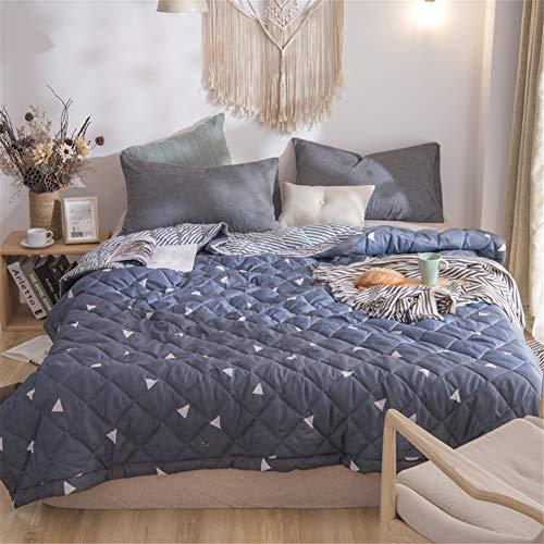 Fansu Tagesdecke Bettüberwurf Steppdecke Mikrofaser Doppelbett Einselbetten Gesteppt Bettwäsche Sofaüberwurf Wohndecke Bettdecke Stepp Gesteppter Quilt (Dunkelblaues Dreieck,200x230cm)