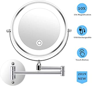 Makeup Mirror, Bathroom Mirror Shaving Mirror Wall Mounted Magnifying Mirror 10x Double-Sided Round Vanity Mirror Swivel Extendable Cosmetic Mirror Touch Screen Double Source