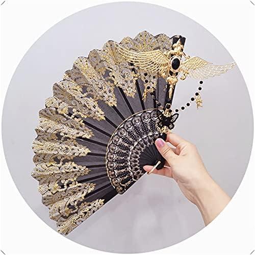 Fashion Vintage Folding Fan Handmade Lolita Angel Wings Pearl Be