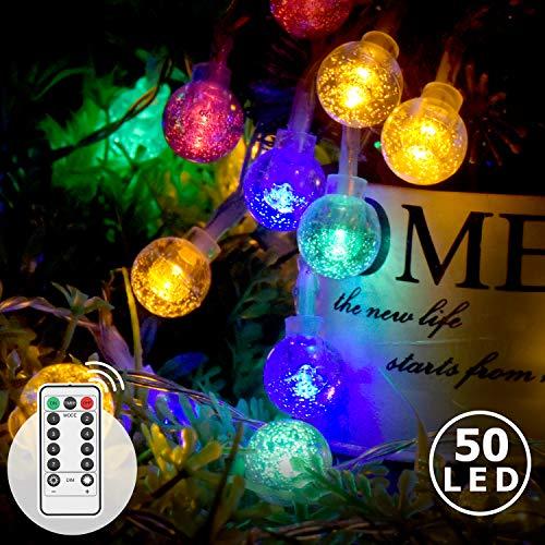 LED Lichterkette Bunt, Innen- Außen Lichterkette Kristall Kugel 7M 50LED, 8 Modi und Merk-Funktion Dimmbar mit Fernbedienung, Lichterkette Strombetrieben ideale für Innen, Party, Weihnachts, Deko usw.