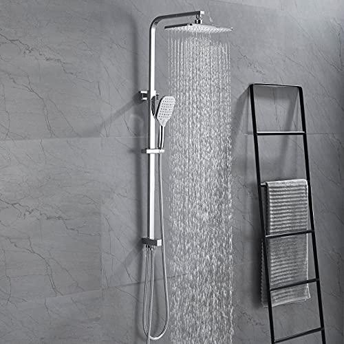 WINDALY Duscharmatur Regendusche Duschsystem, Duschset mit Schöne Kopfbrause 9 inch und Handbrause, Höhenverstellbar Duschstange für Badzimmer, Chrom