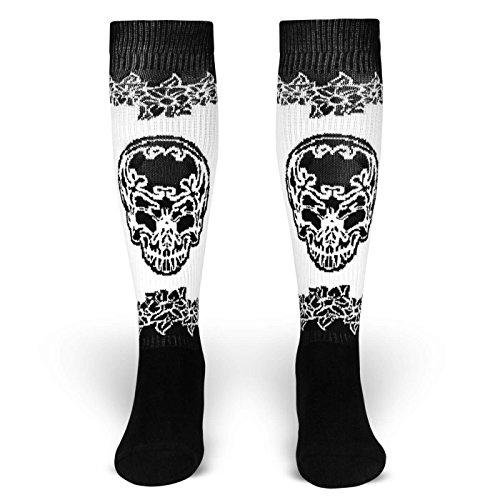 Spirit of 76 Eternal Fiesta   Socken von ROCKASOX   Schwarz, Weiß   Mexikanischer Totenkopf und Blumen   kniehoch   Unisex Strümpfe Size L (43-46)