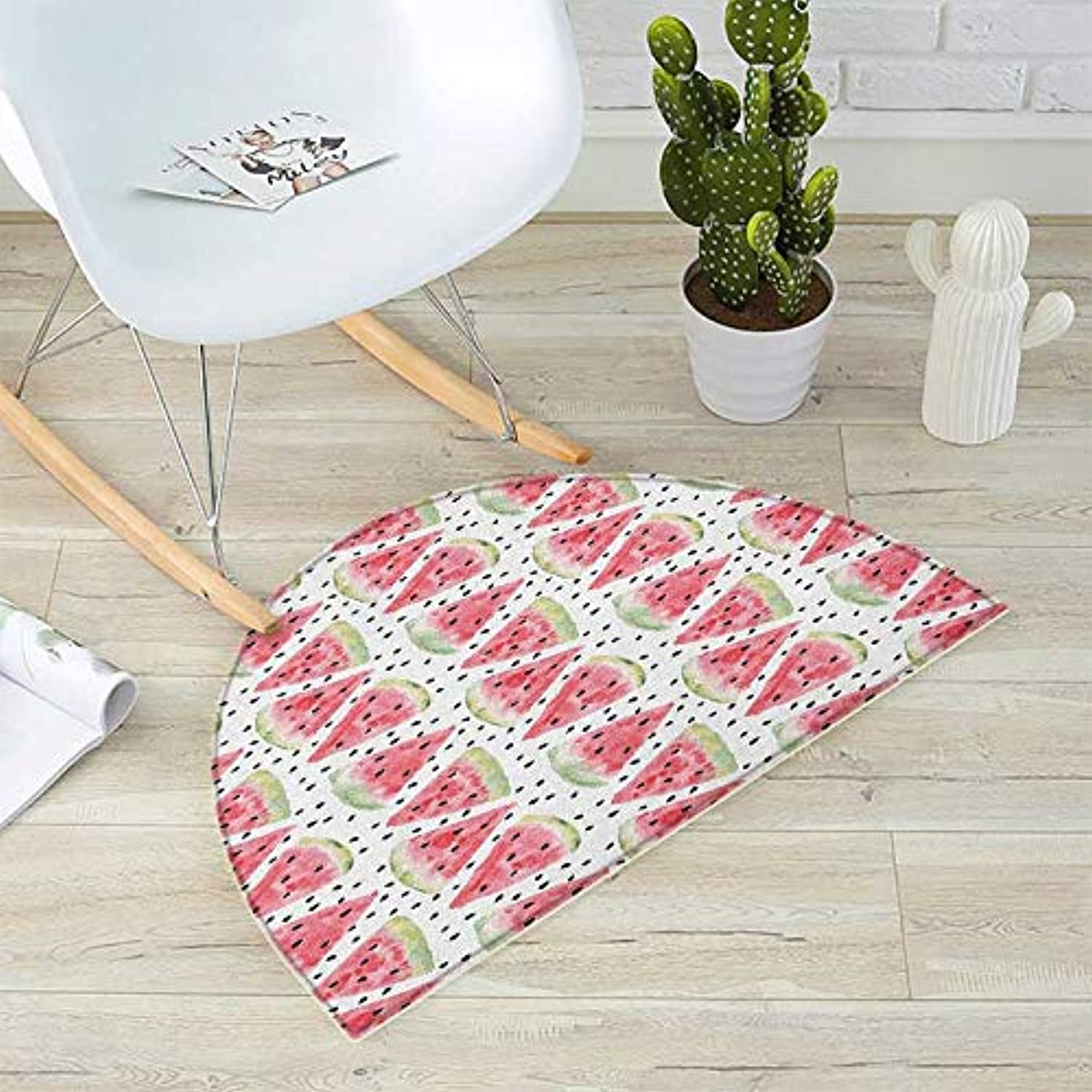 Watercolor Semicircular Cushion Pattern of Sweet Juicy Pieces Watermelon with Seed Tropical Summer Entry Door Mat H 51.1  xD 76.7  Coral Pale Green Black