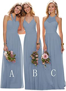 YGSY Women's A Line Pleated Halter Bridesmaid Dress Long Evening