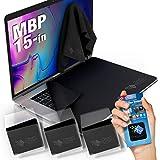 CLEAN SCREEN WIZARD Microfibre MacBook Propres Pro/Protecteur Couvre du Clavier, Anti Statique kit de Nettoyage du d'écran, pour Portable Apple MacBook Pro 16 et 15- Paquet de 4 Noir